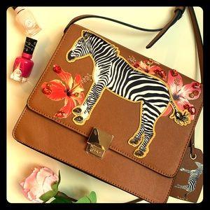 ALDO ZEBRA PURSE Cross Body Handbag, Cognac